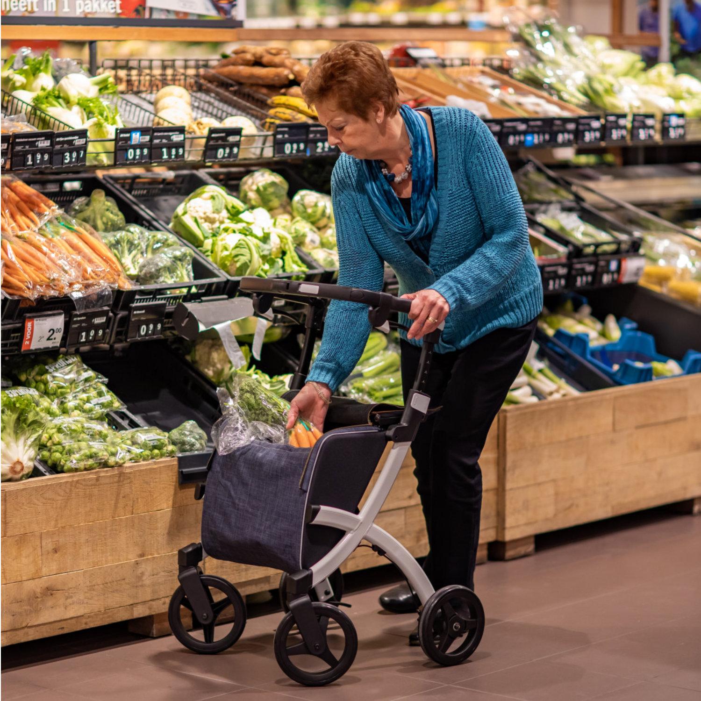 Rollz Flex Einkaufsrollator Weiß/Grau - Einkaufen