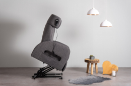 Club1 Riser Chair Gray - stand-up-position side view